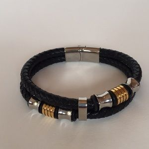 Men's Braided Faux Leather Bracelet Magnetic Clasp